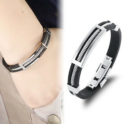 Mens Boys Black Braided Leather Bracelets Wristband Bangle Stainless Steel Wrap