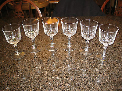 Set of 6 Lead Crystal Wine Goblets Longchamp en Cristal d' Arques 17.5 cl