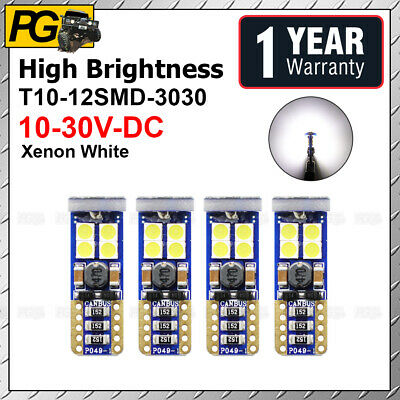 4 Pcs 194 T10 W5W 3030 12 SMD LED Pure White Car Interior Dome Map License Plate