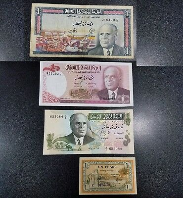 Lot of 4 Banknotes of Tunisia ~ 1943 Franc, 1965, 1973 1/2, 1980 1 Dinar   #6