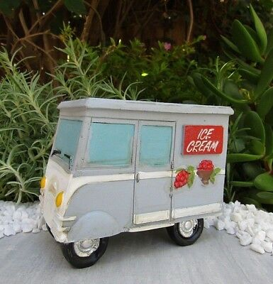 Miniature Dollhouse FAIRY GARDEN Accessories ~ Retro Style Ice Cream Truck ~ NEW