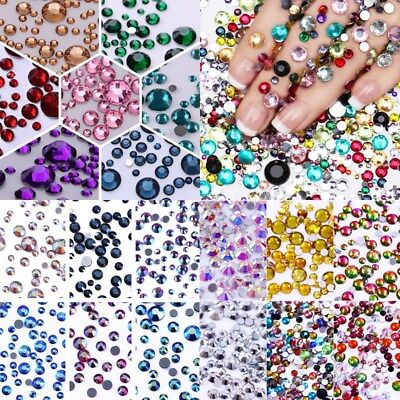 Nail Art Flat Back Rhinestones Resin Crystal Stones 3D Nails Decoration Tips