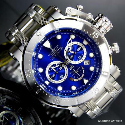 Invicta Coalition Forces Blue Dial Silvertone Stainless Steel 52mm Watch New