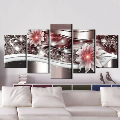 5 Panels Modern Abstract Flowers Print Pictures Canvas Wall Art Deco Unframed