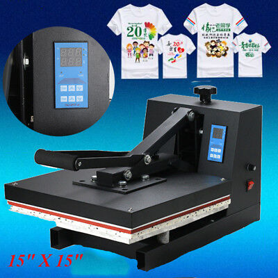 "Safty Heat Press Transfer Digital Clamshell 15""x15"" T-Shirt Sublimation Machine"