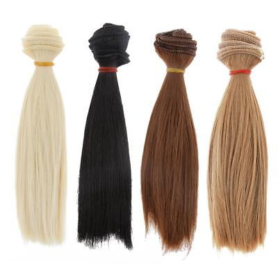 4X Fashion 15x100cm Straight Hair DIY Wig for 1/3 1/4 1/6 BJD SD Barbie Doll
