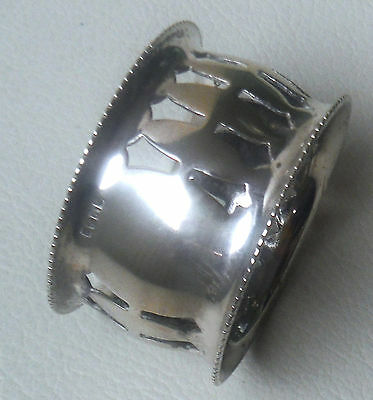 Vintage Silver Plated Reticulated Napkin Ring-Vacant Cartouche