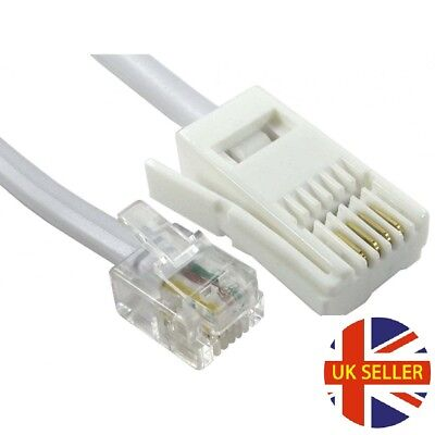 BT Socket 4 Pin Straight 5m RJ11 to BT Cable Lead Modem FAX Telephone Plug