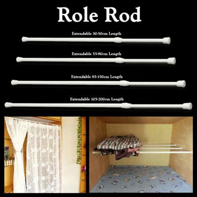 Spring Loaded Extendable Telescopic Net Voile Tension Curtain Rail Pole Rod Chic
