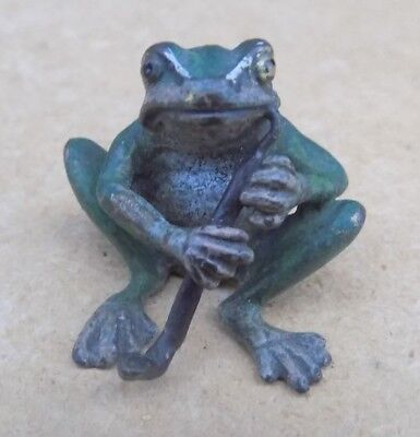 Probably Austrian Cold Painted Bronze Miniature - Frog Smoking a Pipe