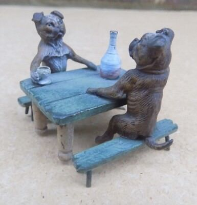 GESCHUTZT Austrian Cold Painted Bronze Miniature - Two Dogs Drinking at a Table