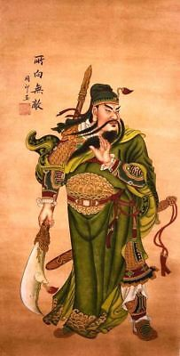 HANDPAINTED ORIENTAL FINE ART CHINESE FIGURE WATERCOLOR PAINTING-Guangong King