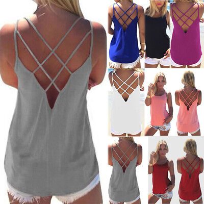 New Womens Sleeveless Vest Tops Summer Beach Backless Blouse Loose T Shirts Cami