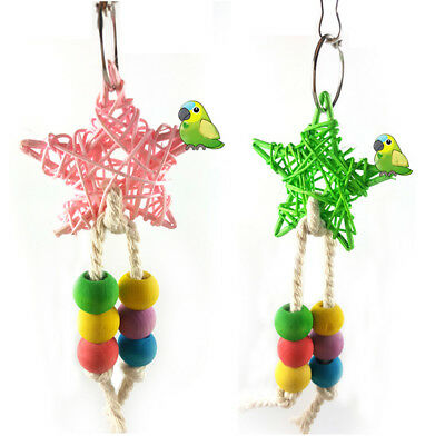 Lc_ Colorful Bead Bird Five-Point Star Shape Cage Swing Climbing Parrot Toy Al