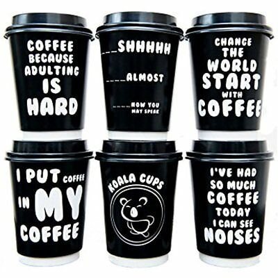 Premium 12oz Disposable Paper Coffee Cups With Lids (50ct) - Fun Quotes In Each