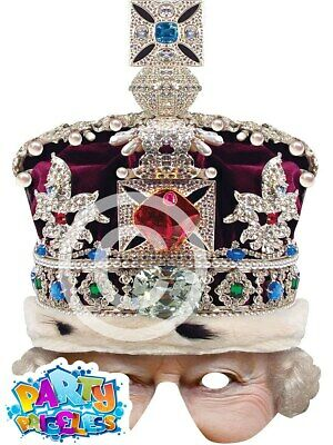 Queen Half Face Mask with Crown Royal Wedding Jubilee British Street Party Prop