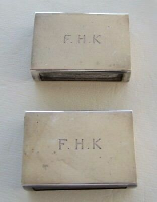 Pair Sterling Silver match box cases covers holders by George Henckel & Co