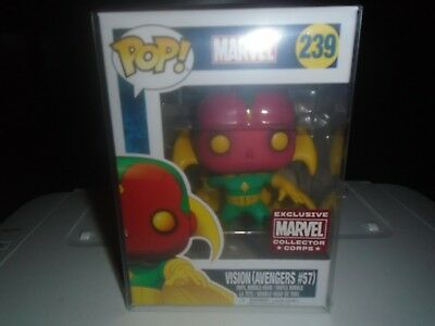 Funko Pop! Marvel Vision (Avengers #57) #239 Marvel Collector Corps w/ Protector