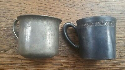 (2) The Essex Silver Plate Co. Metal Mugs, Cups Monogram