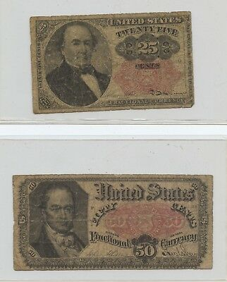 Pair of US Fractional Notes (#1590) Low Grade. Carefully Check out the Photos.