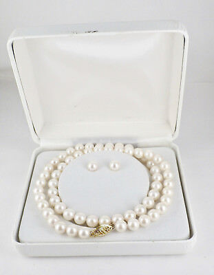 New Old Stock 14K Yellow Gold 7mm Akoya Cultured Pearl Necklace Earrings Set