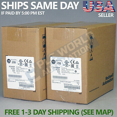 2018 New Factory Sealed Allen Bradley 25B-D2P3N114 Ser A Powerflex 525 Ac Drive