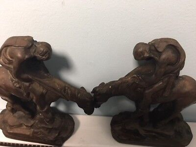 End Of Trail or Trail of Tears Old Bronze Or Iron Bookends Cast Iron Vintage