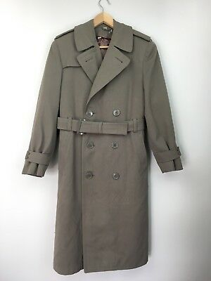 Vintage 1953 Regulation Us Army Wool Overcoat Belt Trench Beige Wwii Korea 36R