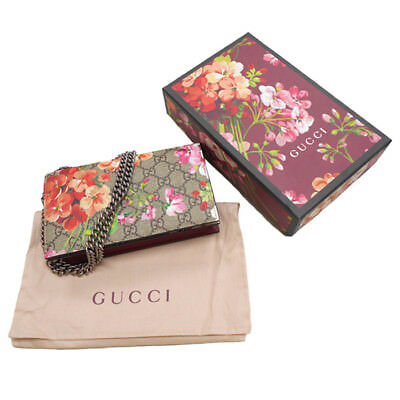 728ff4eb43fb Gucci Red Blooms Bag Floral Crossbody Box Bloom Navy Medium Purse Italy New