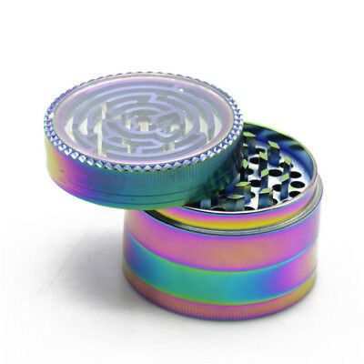 4 Part Rainbow MAZE Grinder 52 mm Magnetic Metal Diamond Teeth Herb Grinder