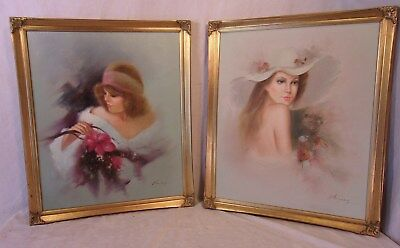 PAIR of vintage GOLD GILT frames with paintings 21 1/2 x26 1/2 canvas 20x24