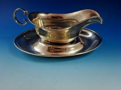 Vintage Sterling Silver Gravy / Sauce Boat & Underplate