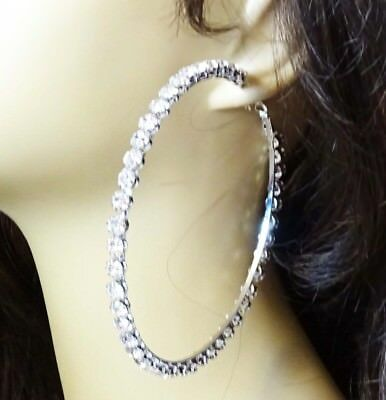 692bd2b7a057 Large Crystal Hoop Earrings 4 Inch Hoop Rhinestone Cluster Gold Or Silver  Tone