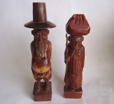 Vintage Hand Carved Wood Chinese Old Man And Woman Couple Statue Figurine