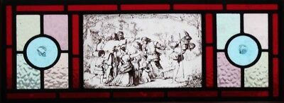 Original Stained Glass Panel With Interesting Pictorial Centre Rondels Releaded