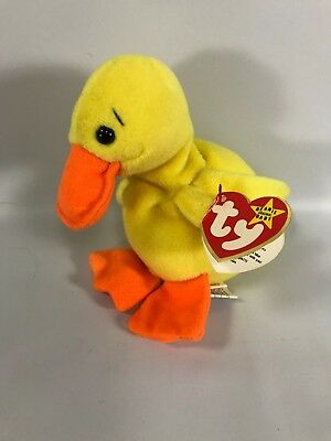 Duck Ty Beanie Baby Quackers 1994 1993 Heart Tags Tush Tags 4024 Style 5 in