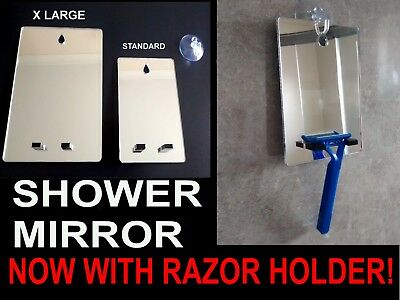 Shower Shaving Mirror,With Razor Holder.Strong Safe Shatter Proof,With FREE Hook