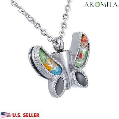 Silver/ Black Flower Patch Butterfly Cremation Memorial Urn Ash Holder Necklace