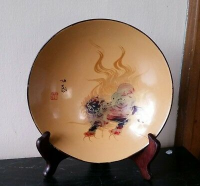 Antique Japanese Lacquer Ware Bowl With Applied Bakelite Lion Hand Painted Signe