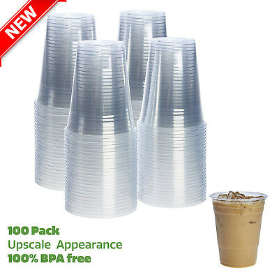 16 oz Clear Plastic Cup 100pcs Disposable Party Drink Cups