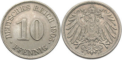 GERMANY: 1905 J 10 Pfennig #WC69846