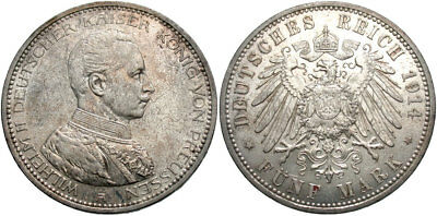 GERMANY: Prussia Wilhelm II 1914 A 5 Mark #WC69563