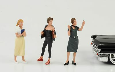 50s 50er Style Girl Woman Set 3 figures figure 1:24 AMERICAN DIORAMA NO CAR NEW