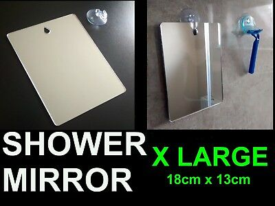 X LARGE Shower Shaving Mirror.Strong Safe Shatter Proof,Travel,Camping FREE Hook