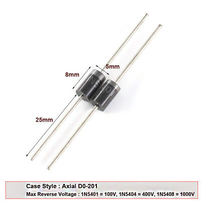 570-PCS DIODE//RECTIFIER STANDARD RECTIFIER 3A 100V DO-201AD DC COMP 1N5401