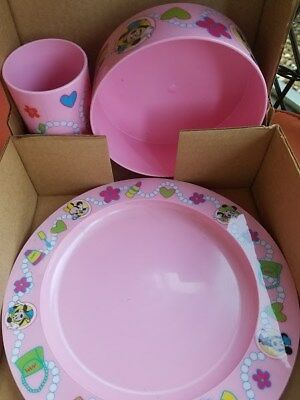 Vintage Minnie Mouse 3pc Pink Dinnerware Set & MICKEY MOUSE