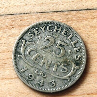 1943 Seychelles 25 Cents Silver