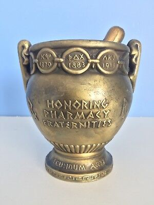 1921 RX HONORING PHARMACY FRATERNITIES HEAVY Brass Mortar and Pestle