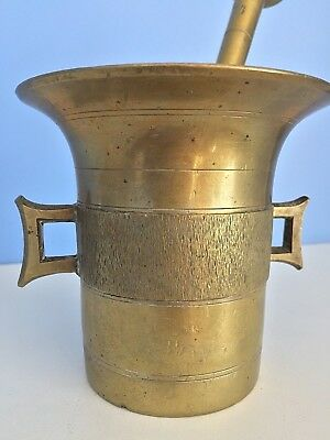 Apothecary Antique 19th Century Brass Mortar and Pestle 2 Handles Set LARGE - 4