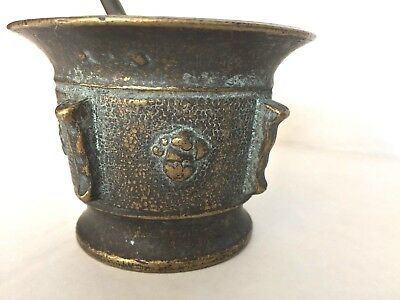 Brienz Switzerland Mortar and Pestle Vintage Brass Ornate w flower and Face